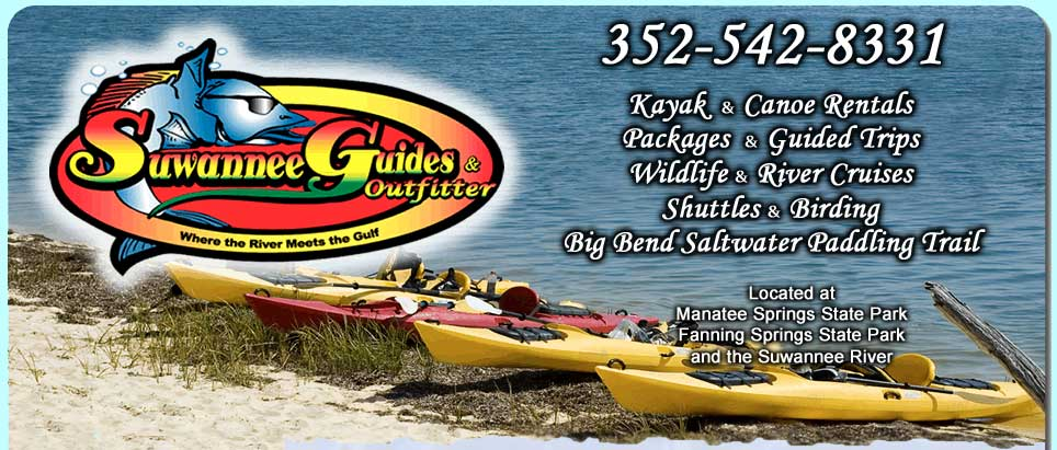 Suwannee River Canoe and Kayak rentals, Fishing and Guided Trips, Waterfront Vacation Rentals